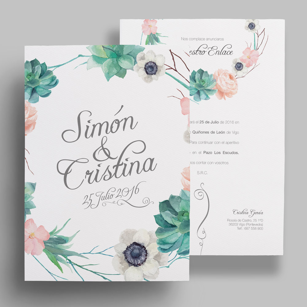 invitación de boda floral, cactus