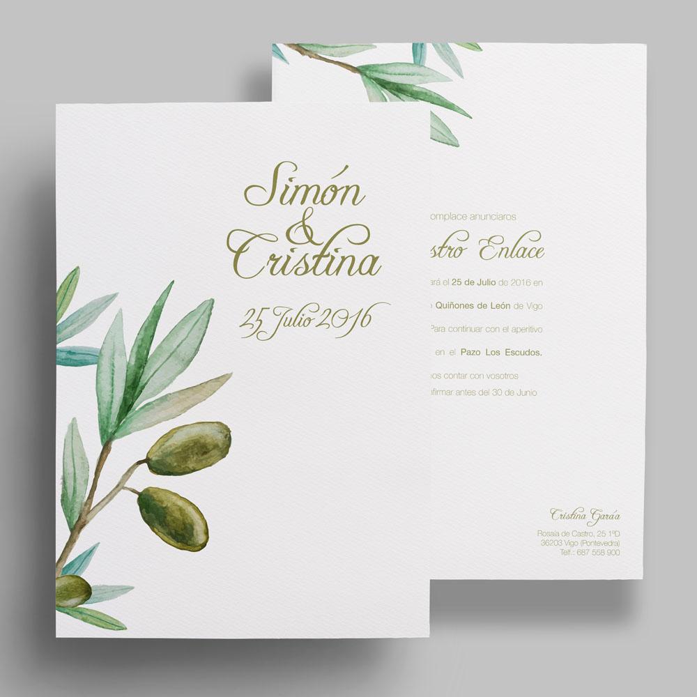 invitación de boda floral, olivo