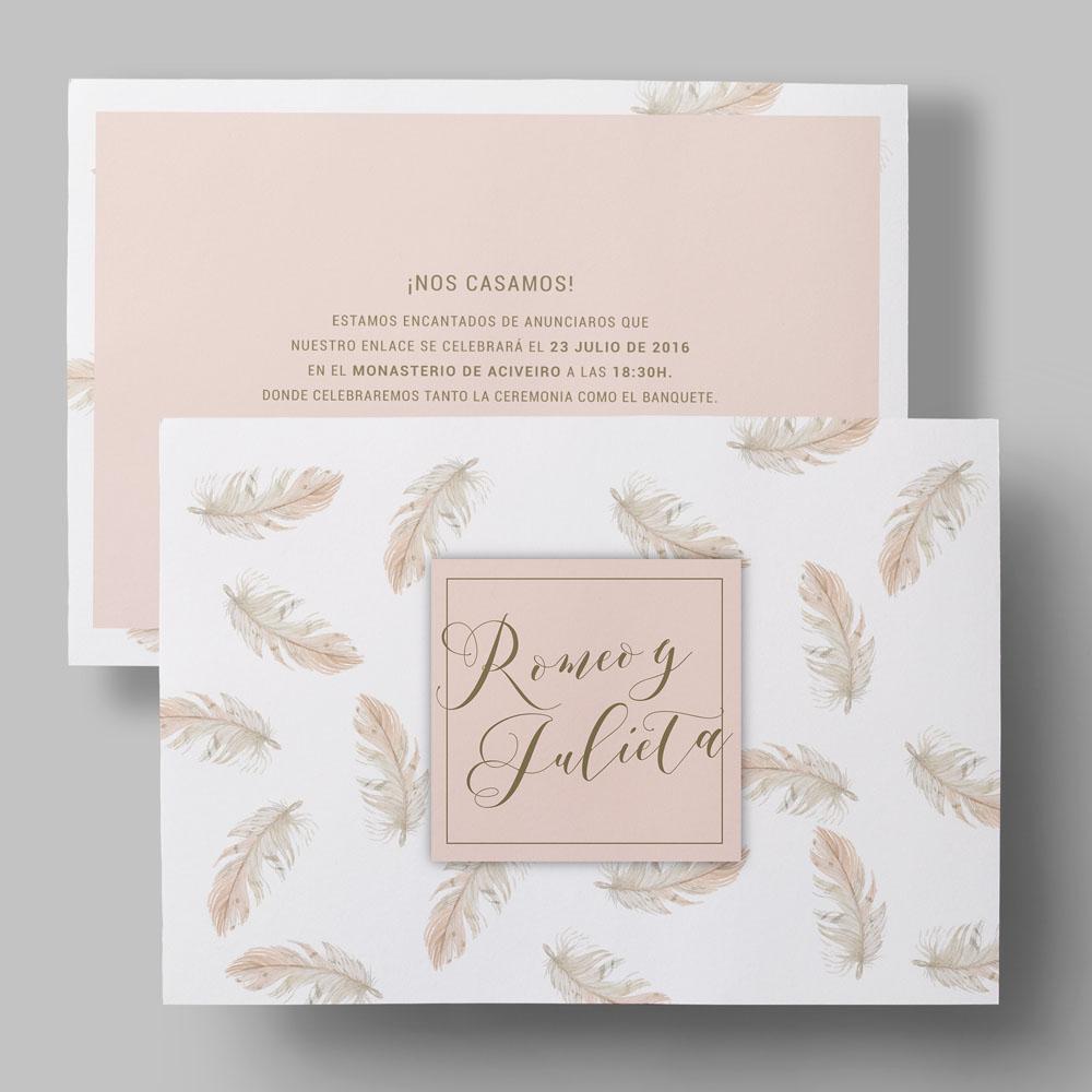 invitación de boda personalizable plumas
