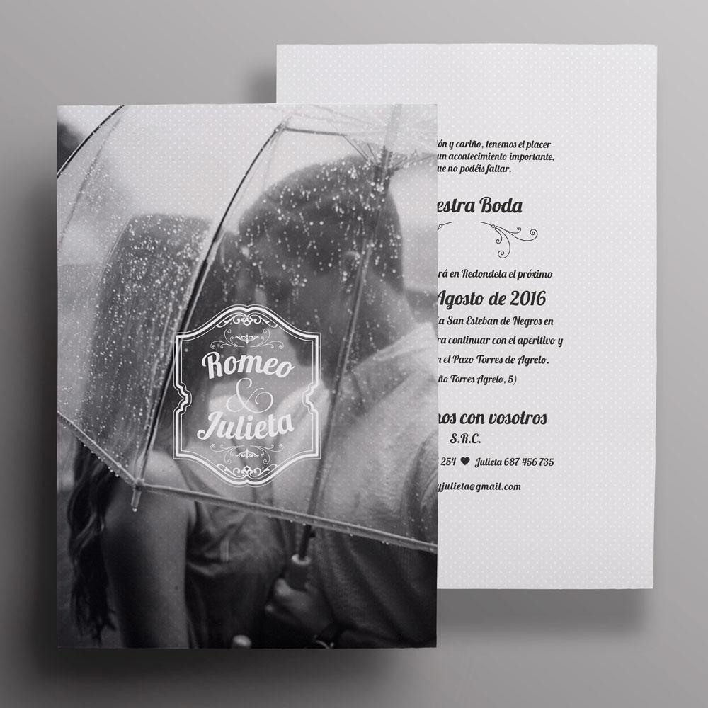 invitación de boda casual con foto