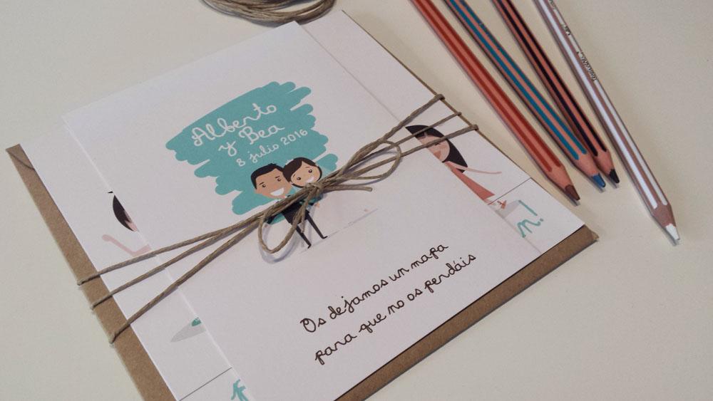 Invitacion de boda papá y mamá se casan con mapa de boda y sobre kraft