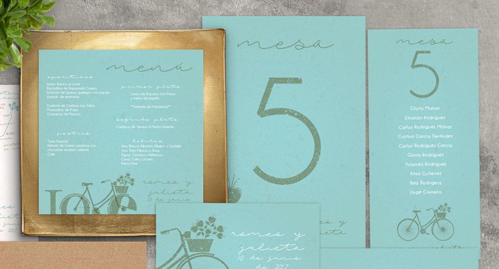 Menu de boda, numero de mesa y seating plan love